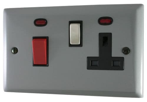 G&H SLG329 Spectrum Plate Light Grey 45 Amp DP Cooker Switch & 13A Switched Socket